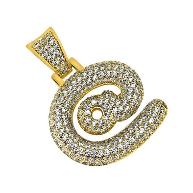 At Internet Symbol Gold CZ Bling Bling Pendant