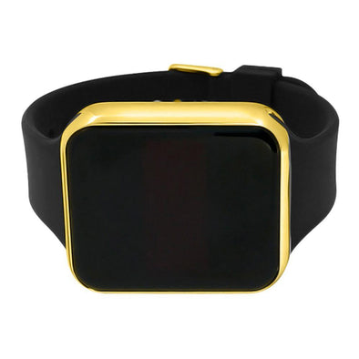 LED Touch Screen Gold Rectangle Watch Black Band