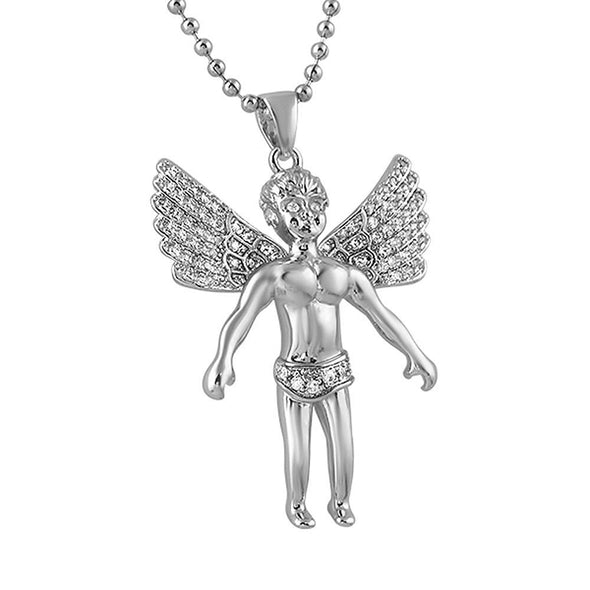 Cherub Angel Wings Spread CZ Rhodium Mini Pendant
