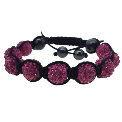 Pink Black Rope 10MM Disco Ball Bracelet