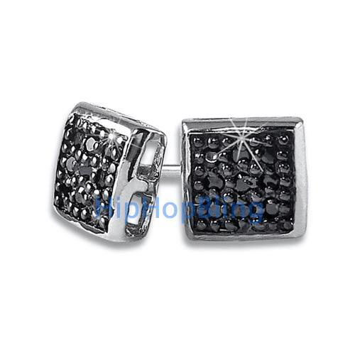 Small Puffed Box Black CZ Micro Pave Earrings .925 Silver