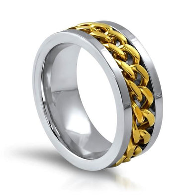 Gold Cuban Chain Link Stainless Steel Ring