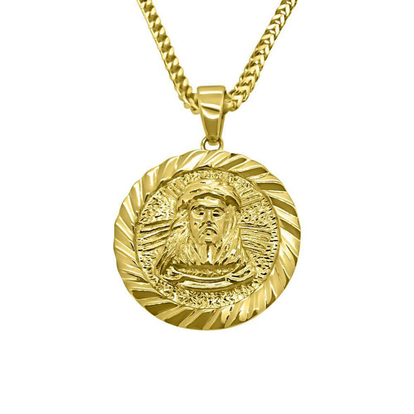 HipHop Gold Jesus Piece Medallion w Franco Chain