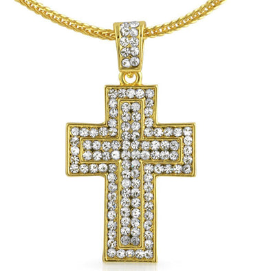 Quad Iced Out Gold Cross Pendant  Chain Small