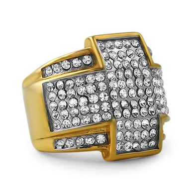 Cross Gold Stainless Steel Bling Bling Ring