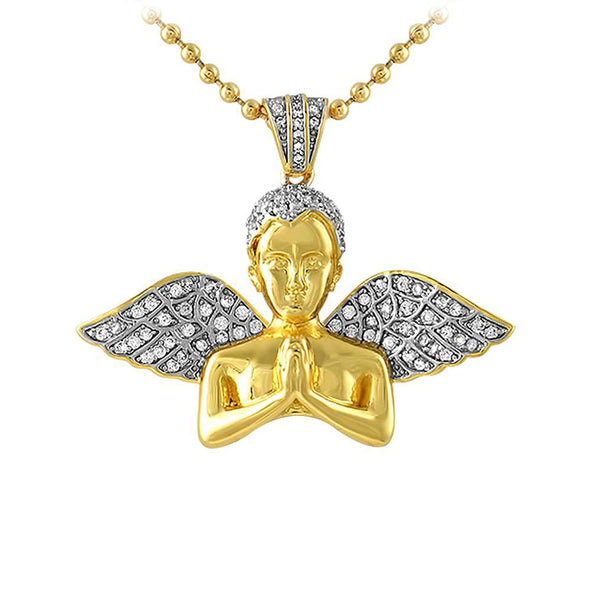 Praying Cherub Angel Bust Gold Mini CZ Pendant