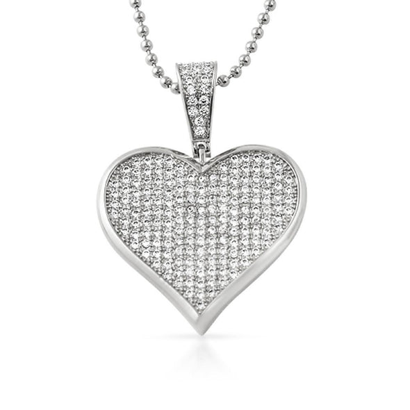 Poker Heart CZ Rhodium Pendant