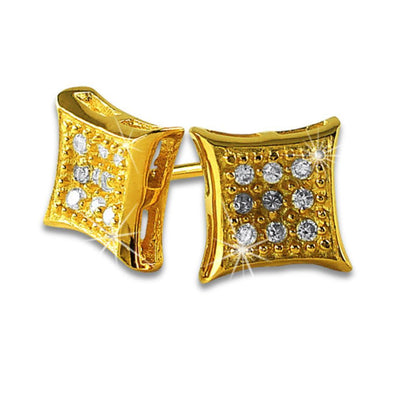 Kite Small Gold Vermeil CZ Micro Pave Earrings .925 Silver