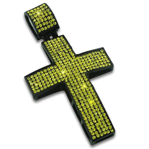 Canary Ice on Black Bling Bling Cross