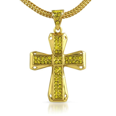 Diamond Cut Lemonade Cross Chain Small