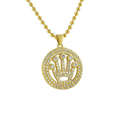 King Crown Circle Micropave Gold CZ Pendant