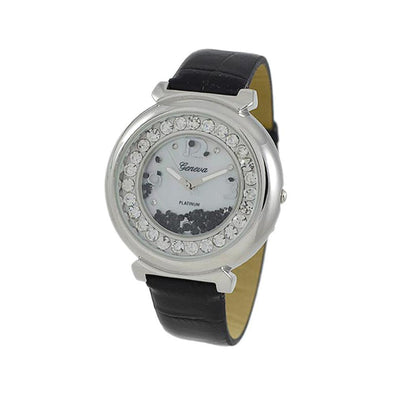 Floating Ice Round Watch Black Leather Band