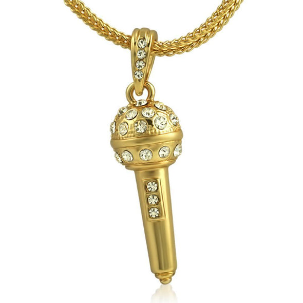 Gold Hip Hop Microphone Pendant  Chain Small