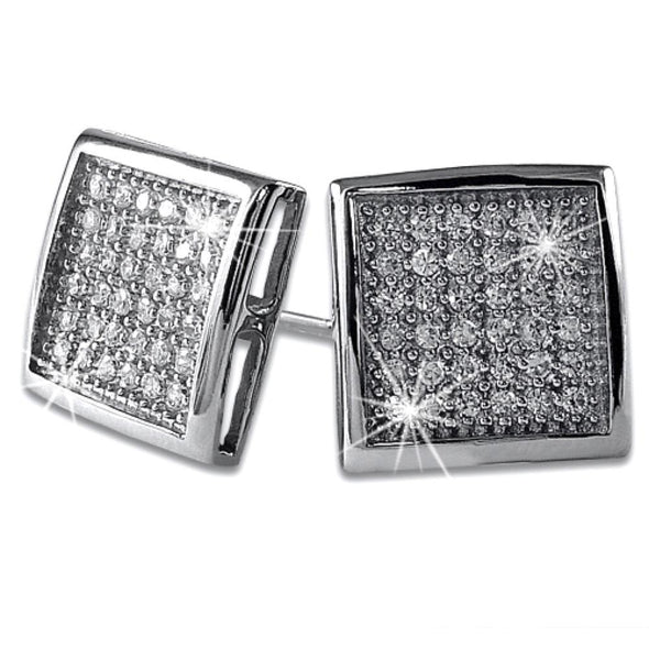 Large Deep Box CZ Micropave Earrings .925 Sterling Silver