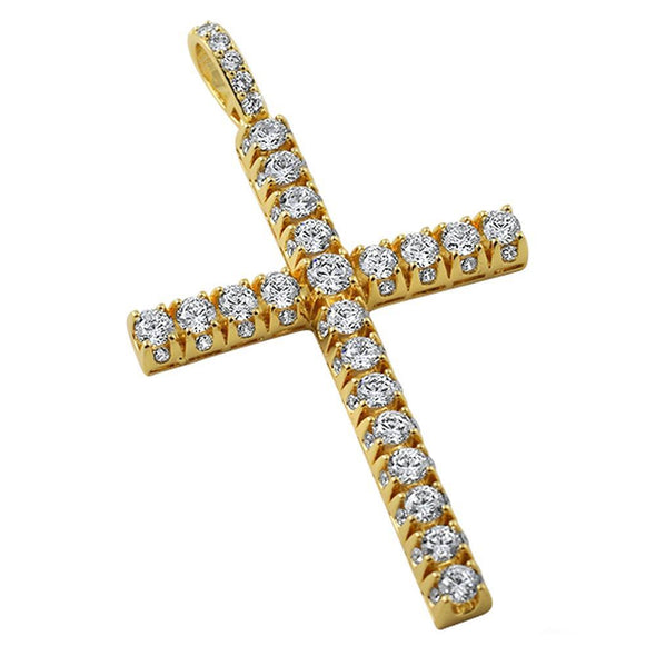 3D Gold Tennis CZ Cross Pendant