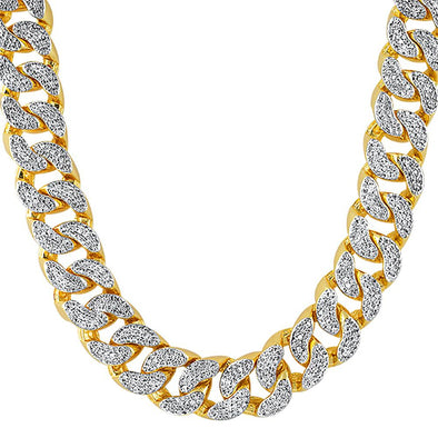 22MM Thick Gold CZ Cuban Chain Bling Bling