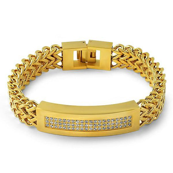 Gold ID Double Franco CZ Steel Bling Bracelet