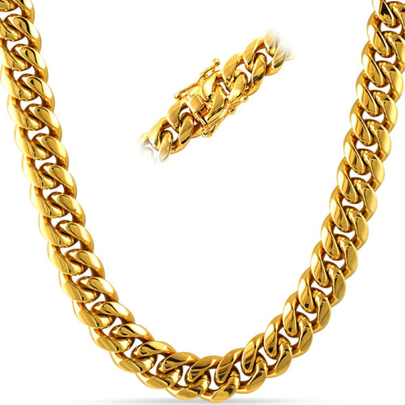 Miami Cuban Gold Stainless Steel Chain 14MM