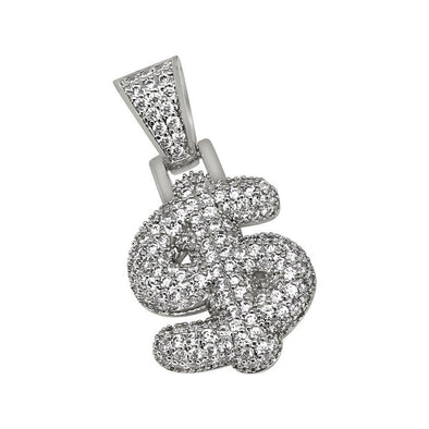Money US Dollar Symbol Rhodium CZ Bling Bling Pendant