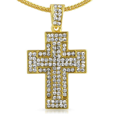 Thick Gold Cross  Chain Small