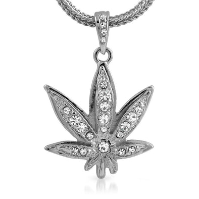 Marijuana Rhodium Hip Hop Pendant  Chain Small