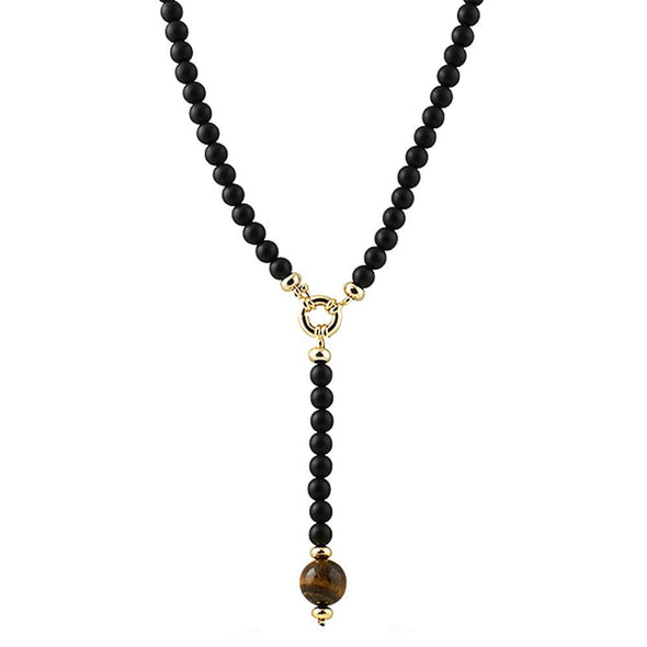 Tiger Eye Pendant Beads Black Rosary Chain Necklace