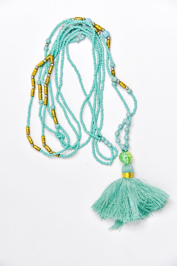 Oneself Island Living - Hand Beaded Necklace with Tassle -