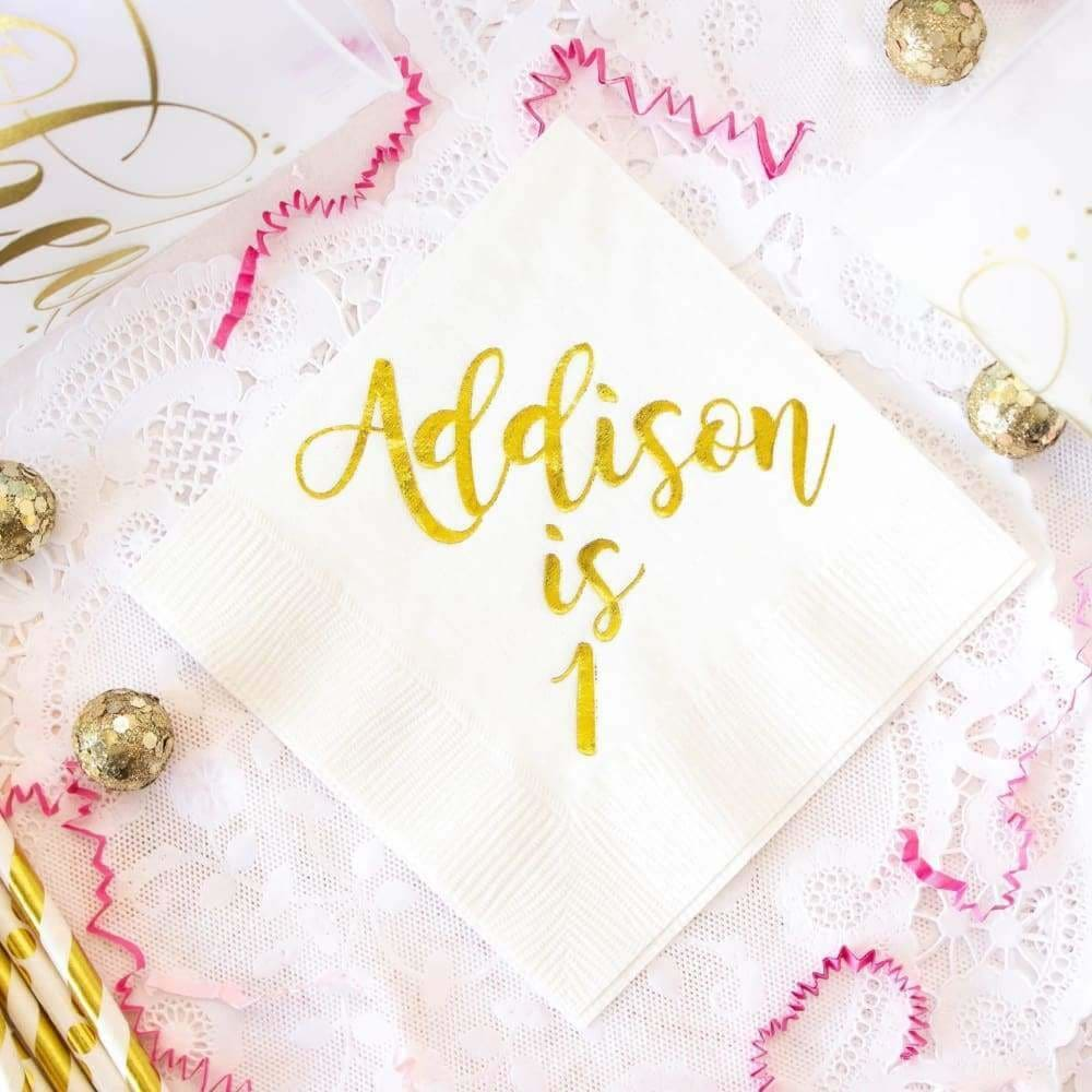 Happy First Birthday Napkins Pink & Gold - Napkins