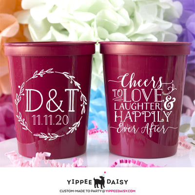 Cheers to Love Laughter and Happily Ever After Stadium Cups - Stadium Cup
