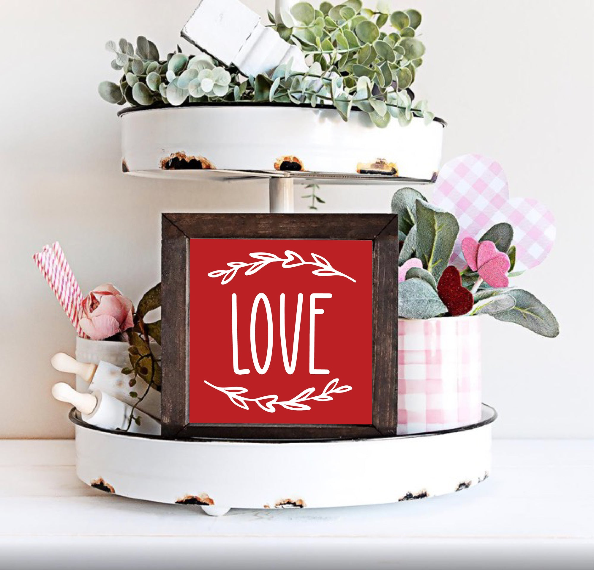Red love sign for farmhouse kitchen