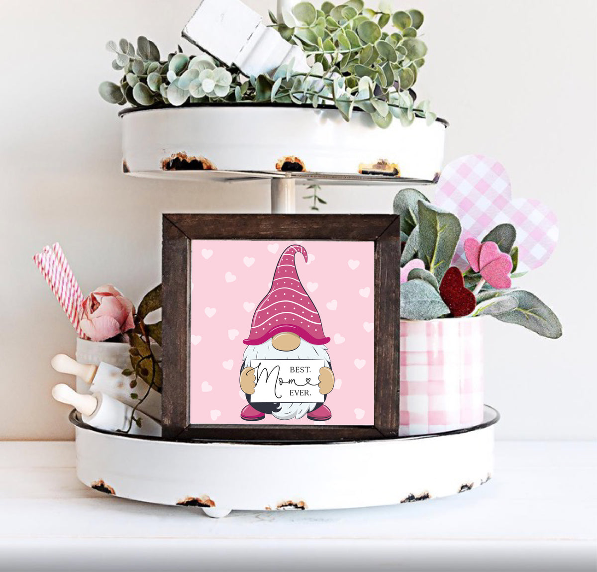 Best Mom Ever Pink Gnome Small Sign