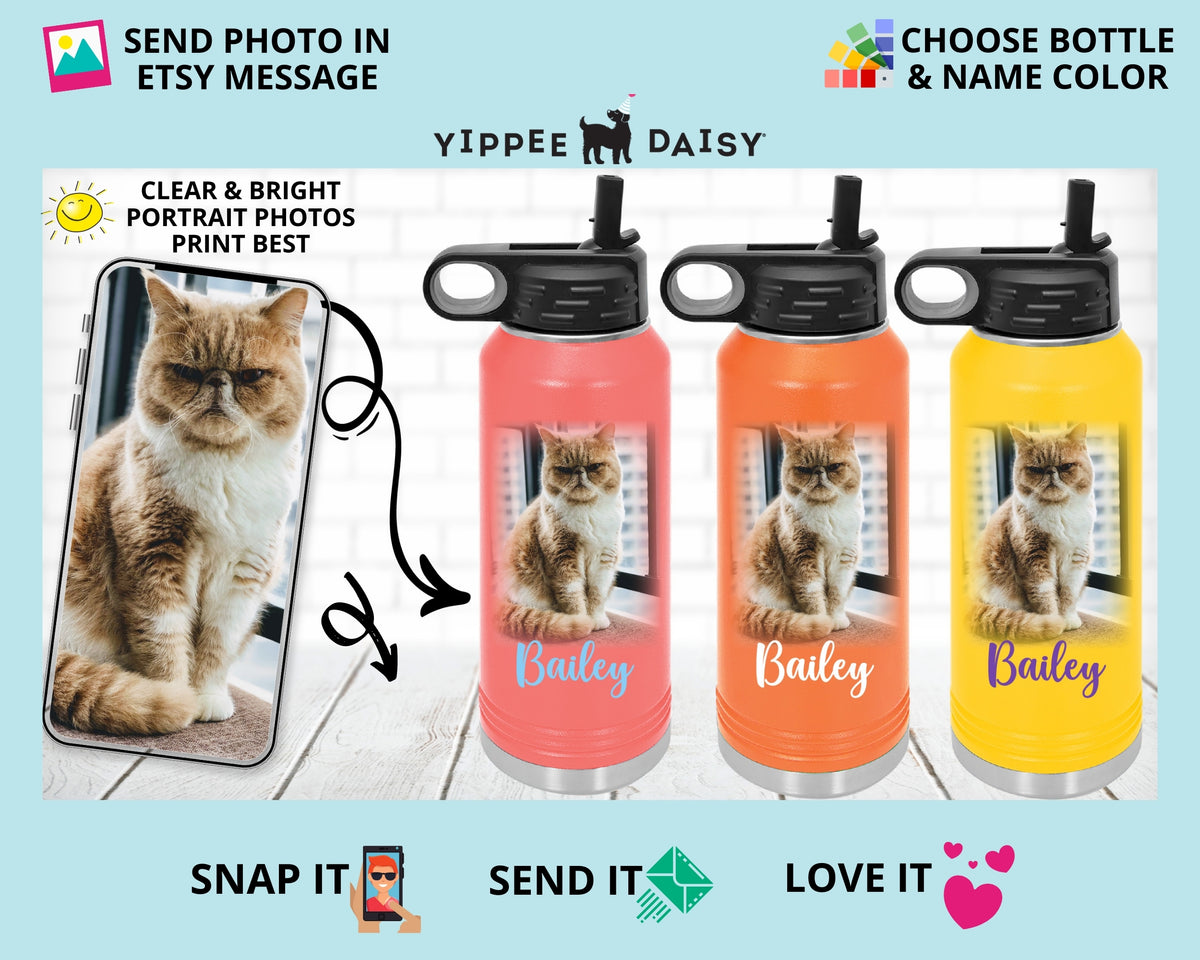 Dog Picture on Water Bottle Gift for Dog Moms