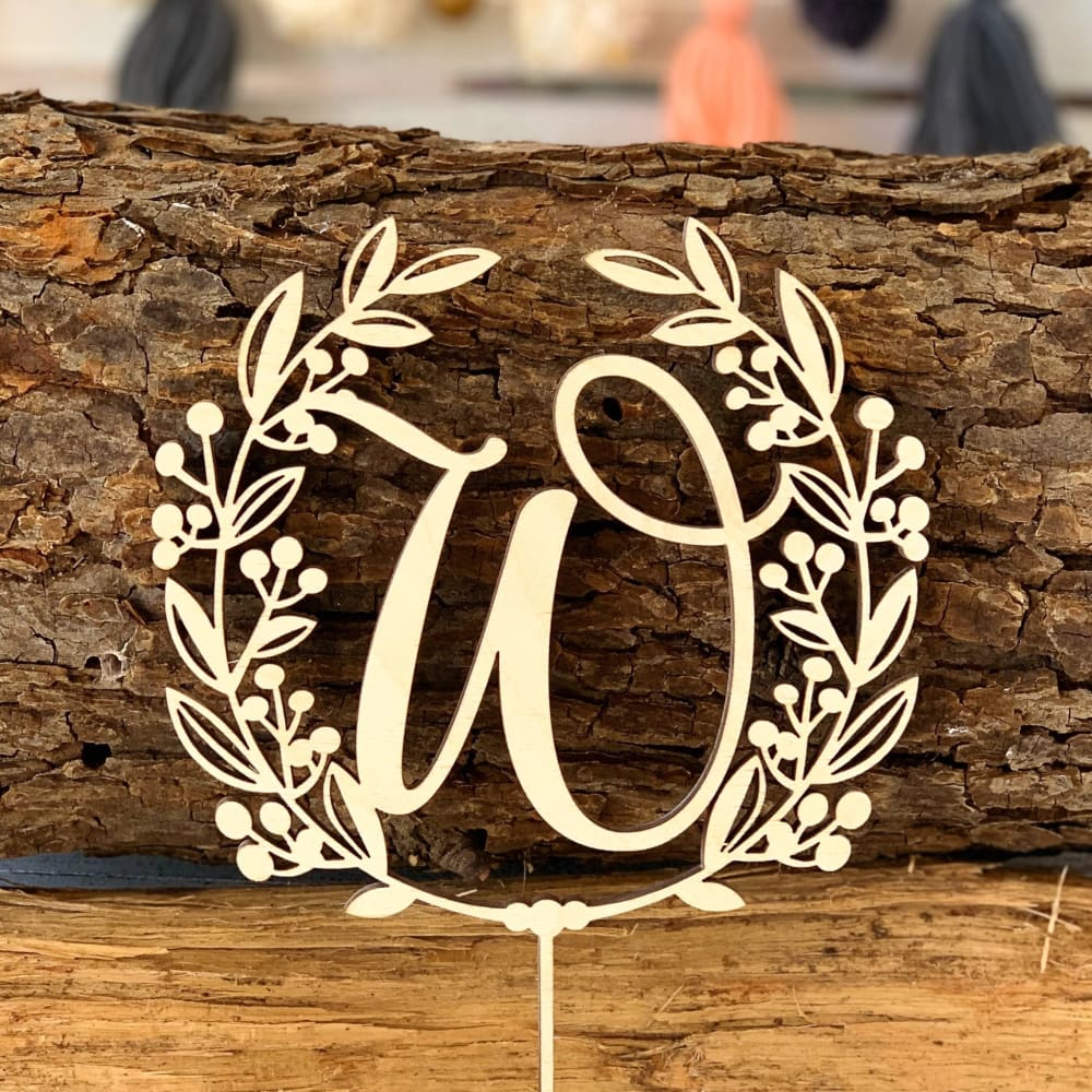 Monogram Wreath Cake Topper - Cake Topper