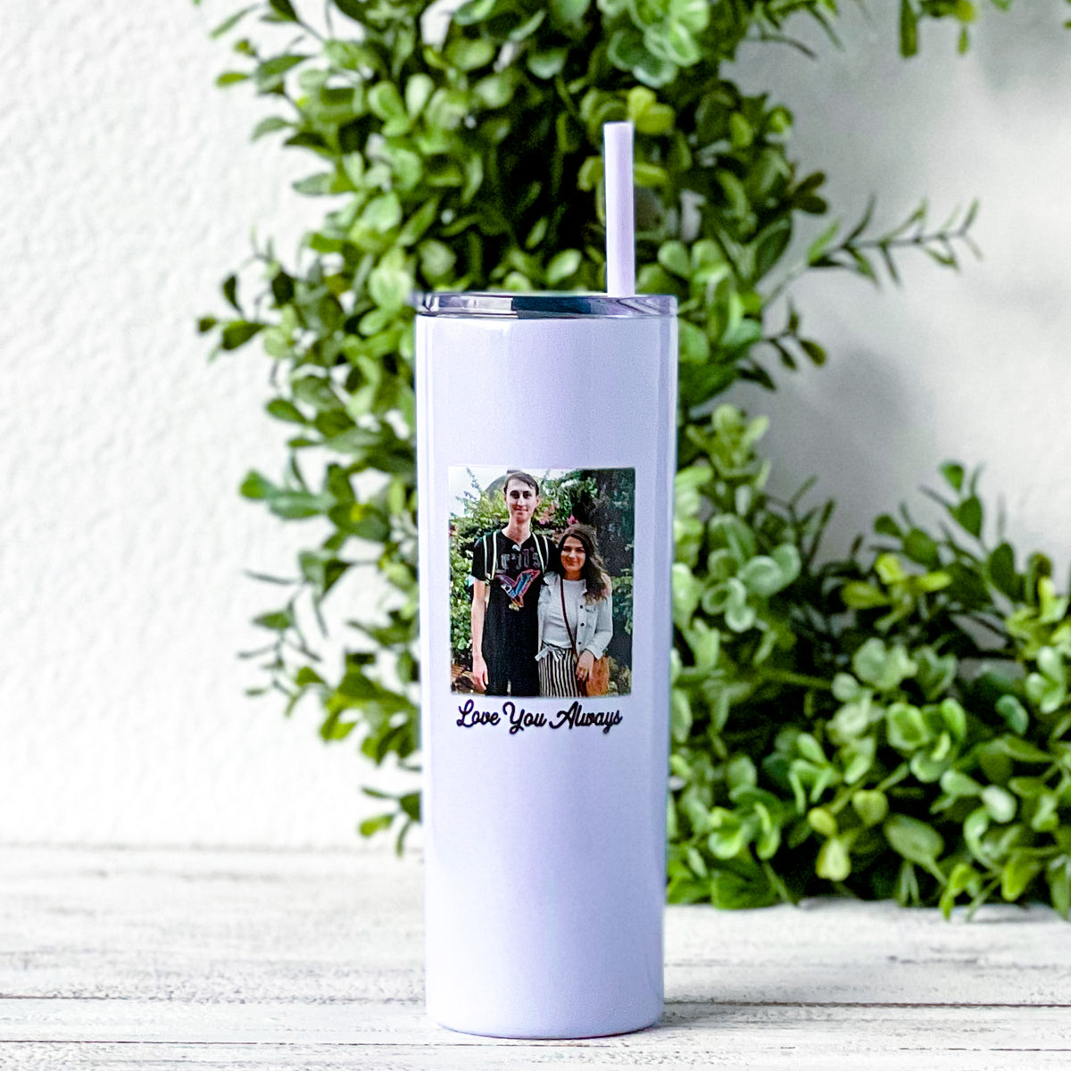 couple printed on 20 ounce skinny tumbler