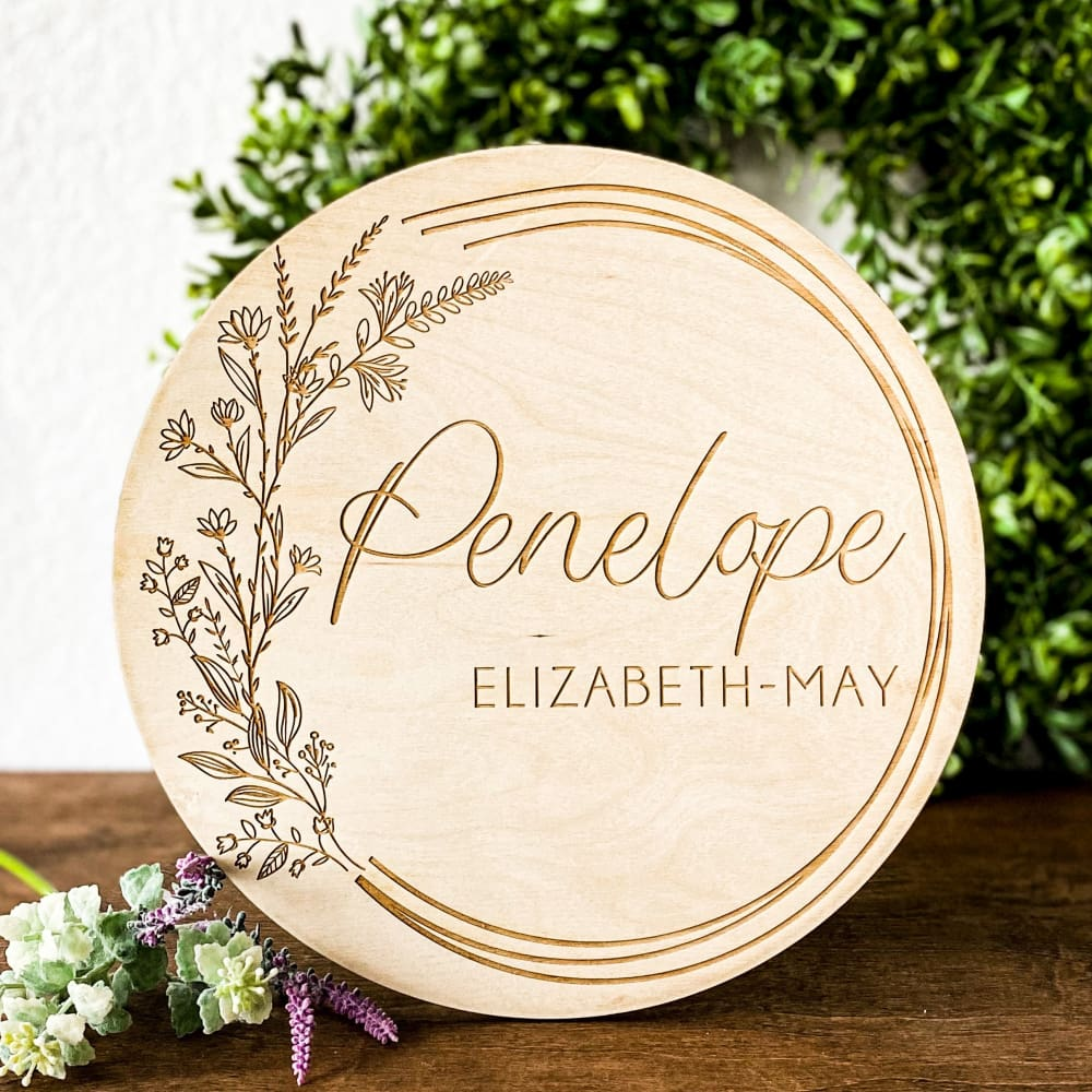 Floral Wreath Newborn Sign