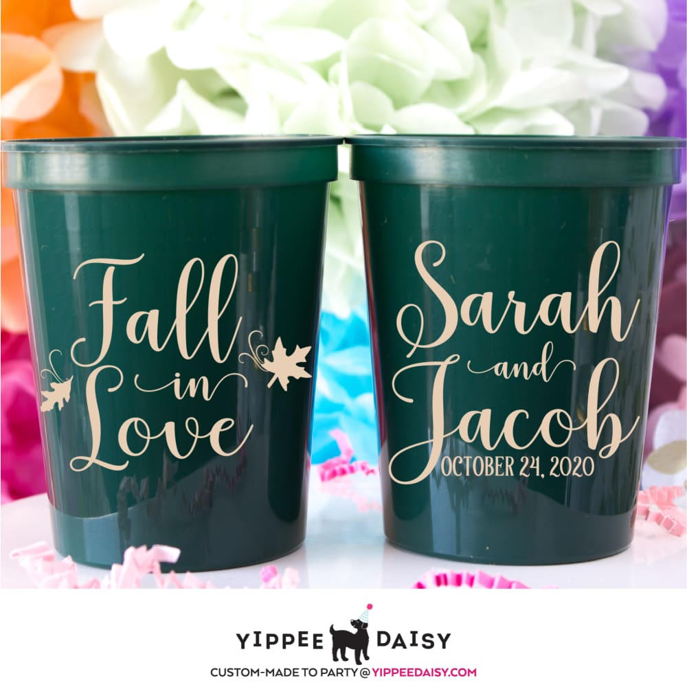 Fall In Love Personalized Wedding Stadium Cups - Stadium Cup