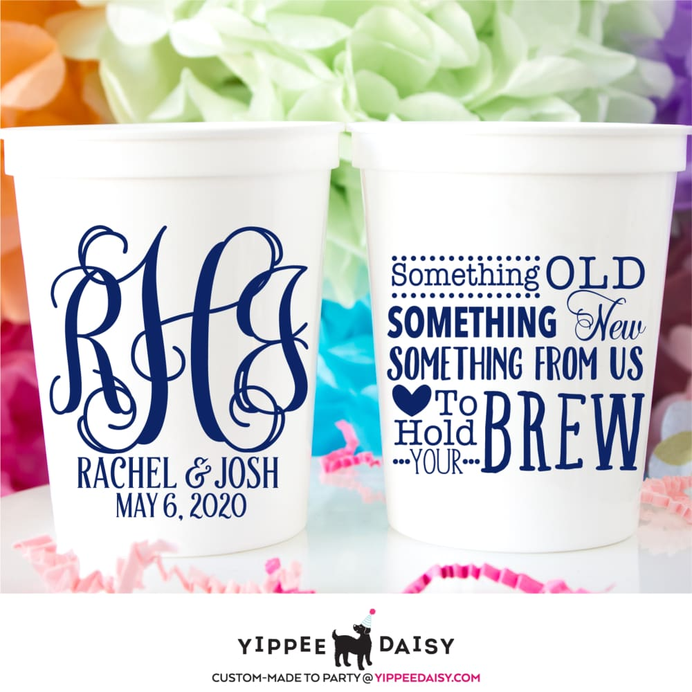 Personalized Plastic Cup Frosted Cups Something Old Something New Custom Wedding Cups Frost Flex Cups Plastic Cups Wedding Party Cups