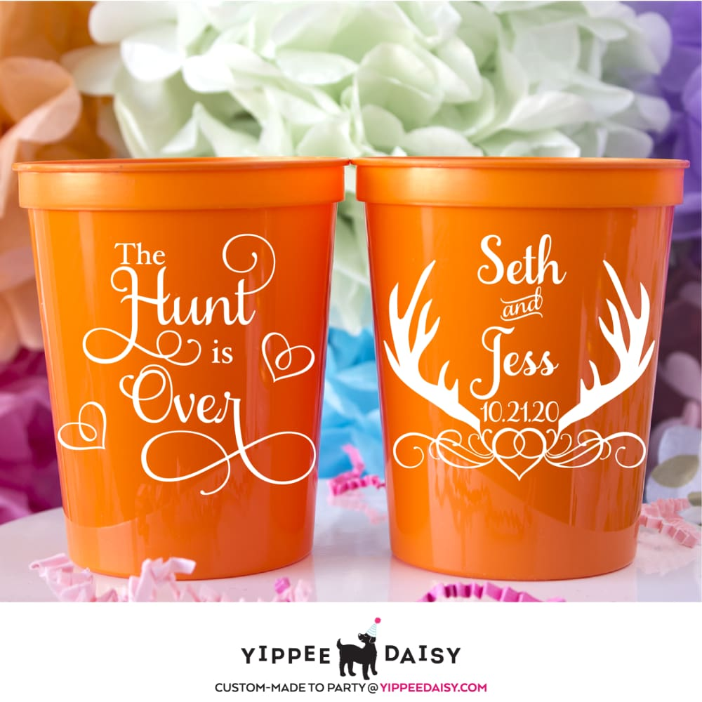 The Hunt Is Over Personalized Wedding Stadium Cups - Stadium Cup