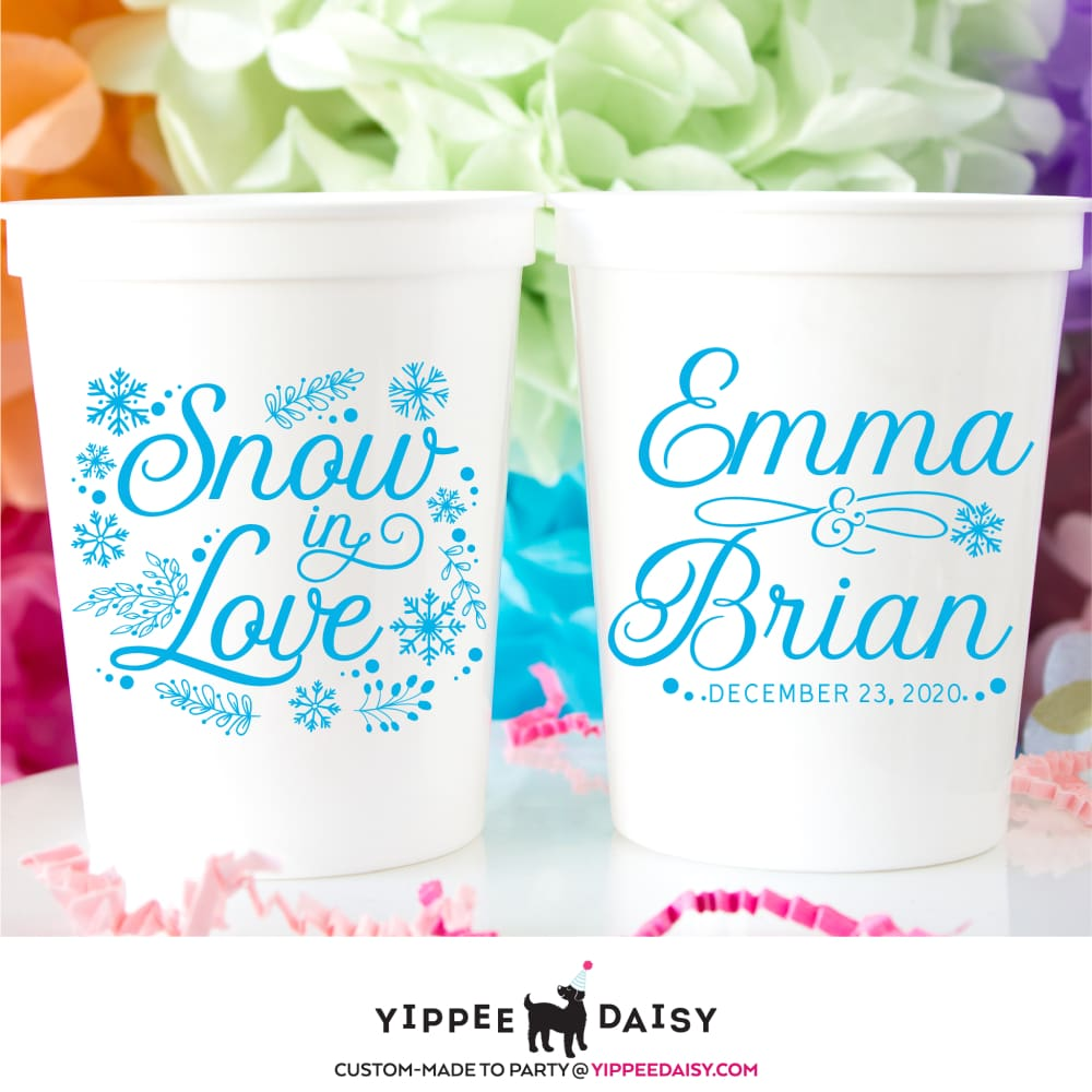 Snow In Love Personalized Wedding Stadium Cups - Stadium Cup
