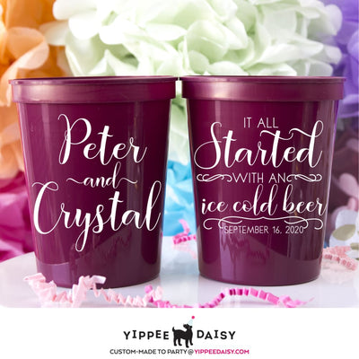 It All Started With An Ice Cold Beer Personalized Wedding Stadium Cups - Stadium Cup