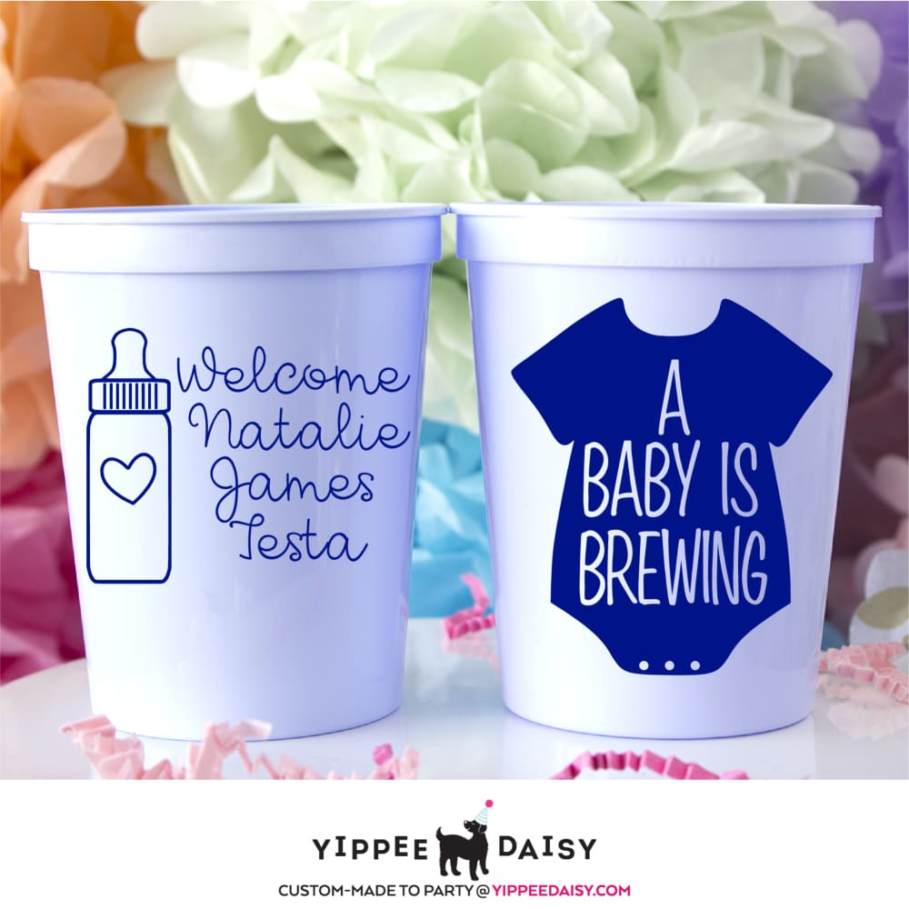 A Baby Is Brewing Personalized Baby Shower Stadium Cups - Stadium Cup