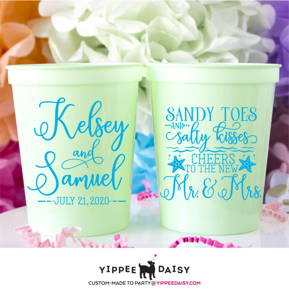 Sandy Toes & Salty Kisses Cheers To The New Mr. & Mrs. Personalized Wedding Stadium Cups - Stadium Cup