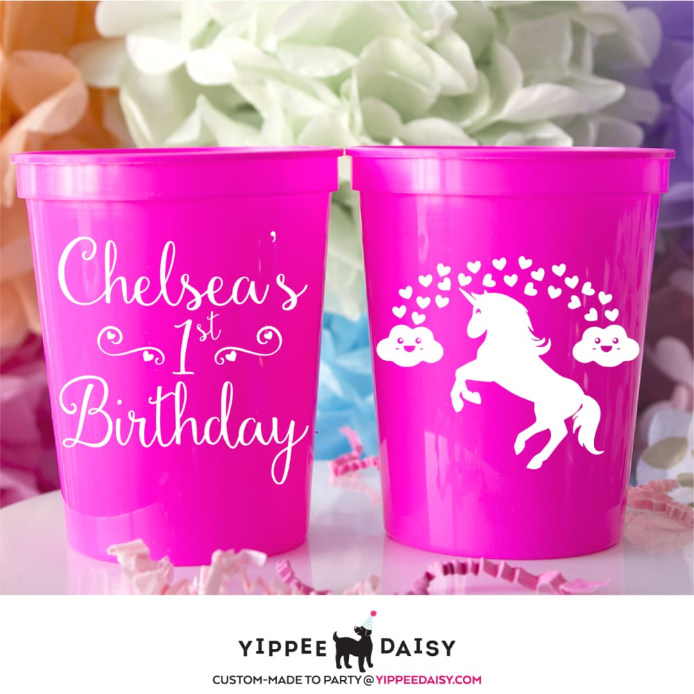 Unicorn Personalized Birthday Stadium Cups - Stadium Cup
