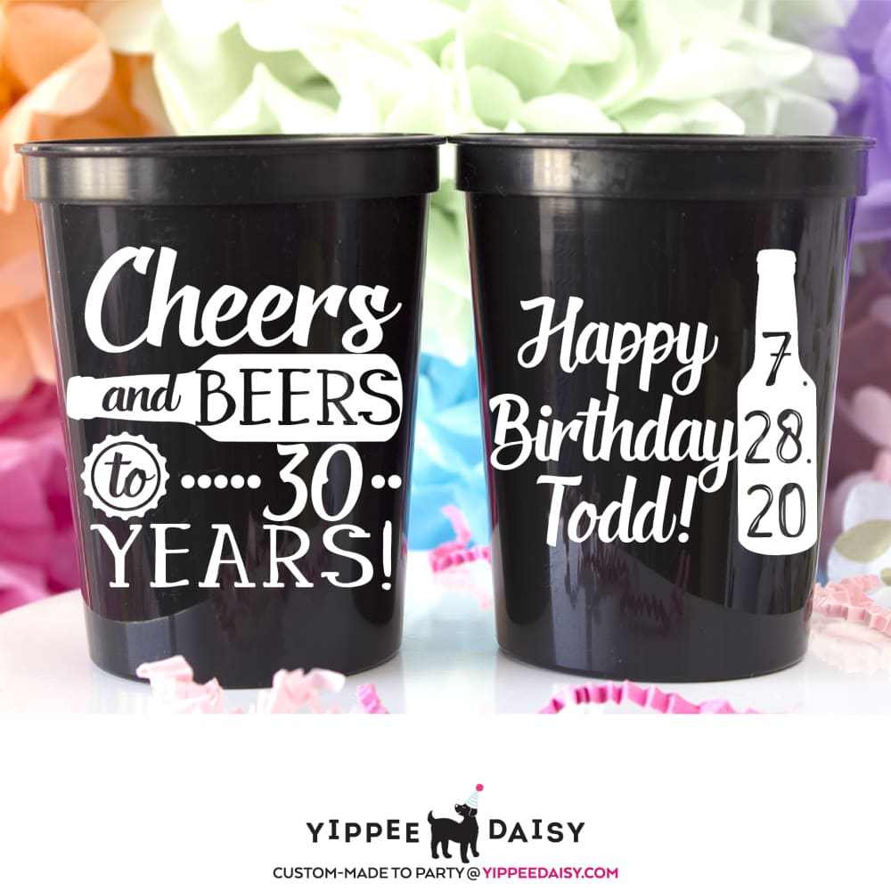 Cheers & Beers To 30 Years Personalized Birthday Stadium Cups - Stadium Cup