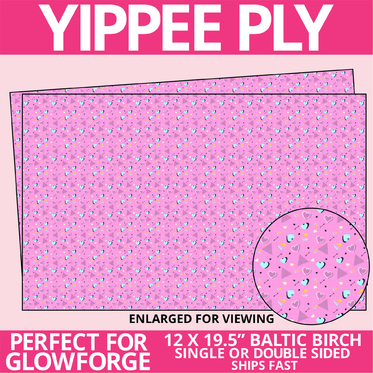 Yippee Ply Geometric Retro Heart Valentine Pattern on Birch Plywood 1003