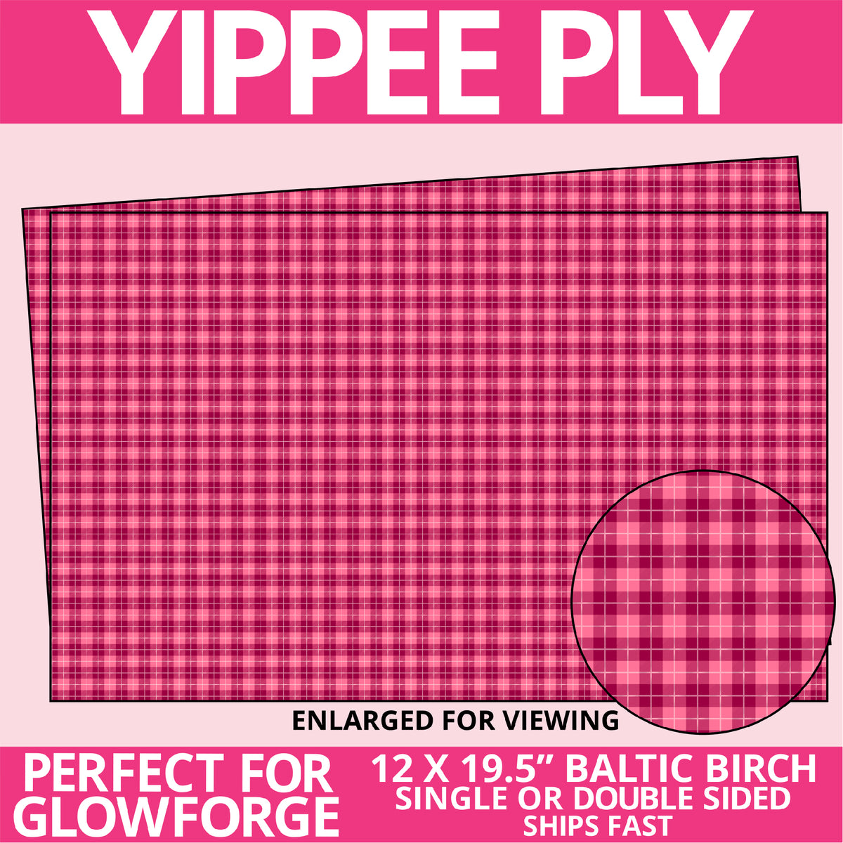 Yippee Ply Pink Plaid Valentine Pattern on Birch Plywood 1009