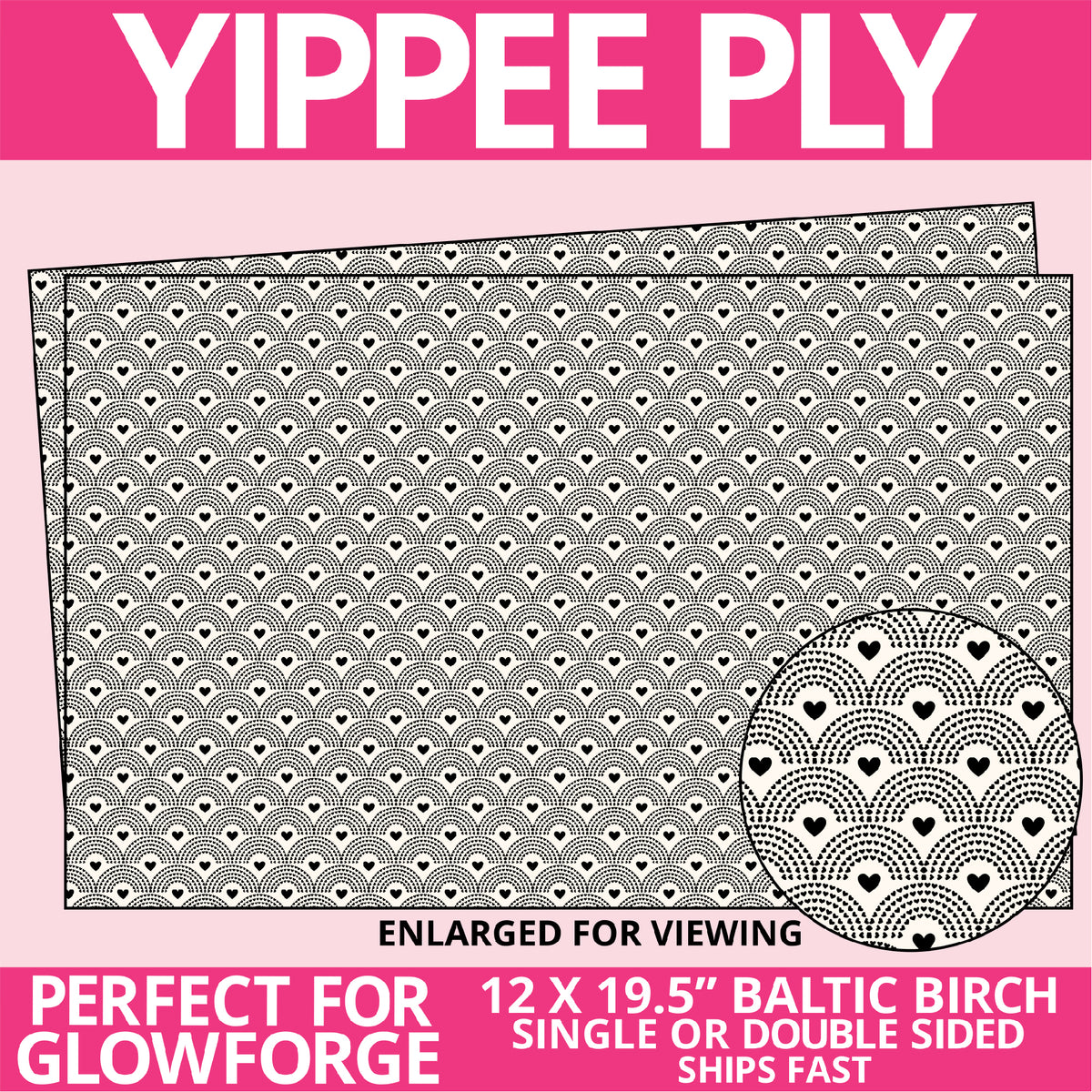 Yippee Ply Noble Heart Valentine Pattern on Birch Plywood 1019