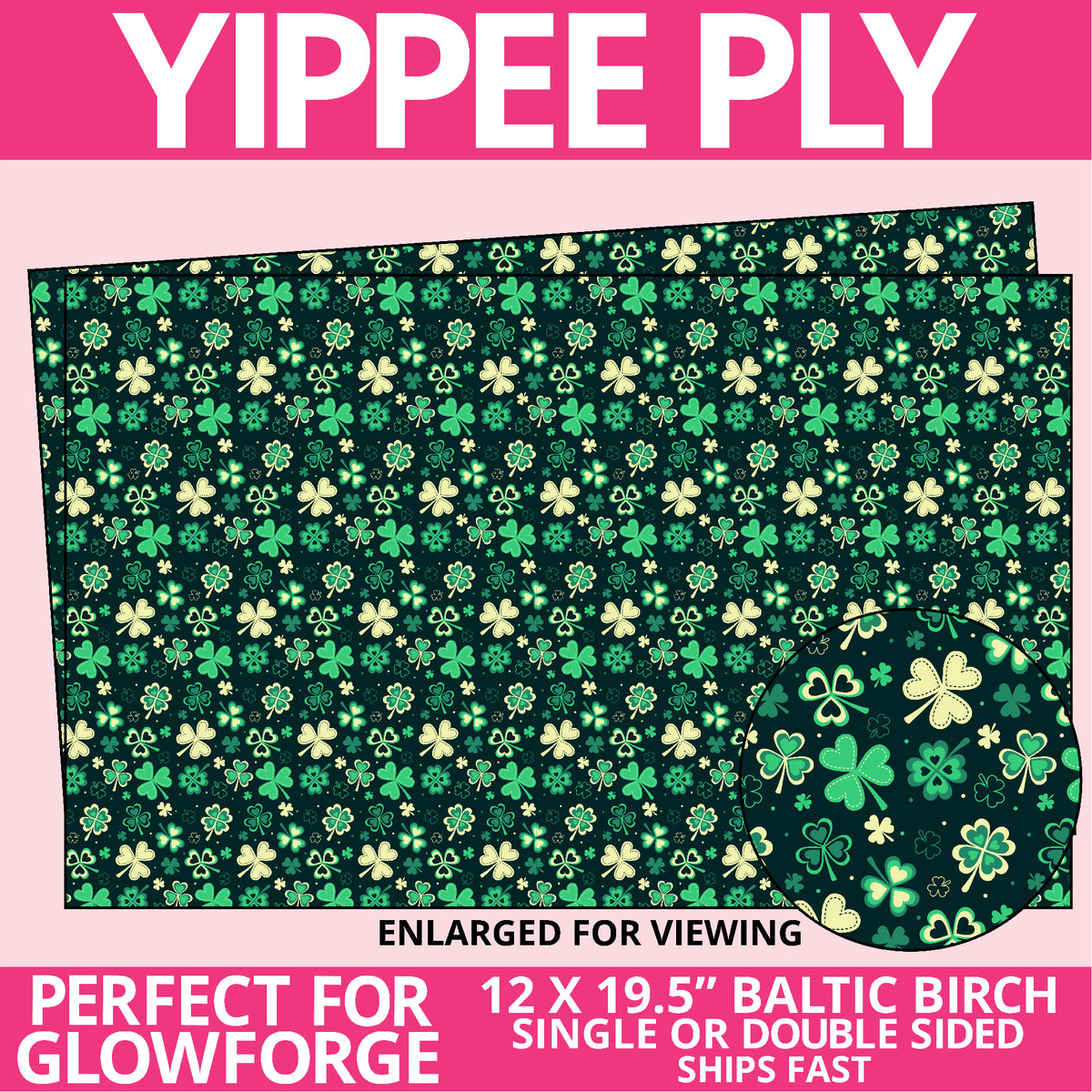 Yippee Ply Feeling Lucky Pattern on Birch Plywood 1024