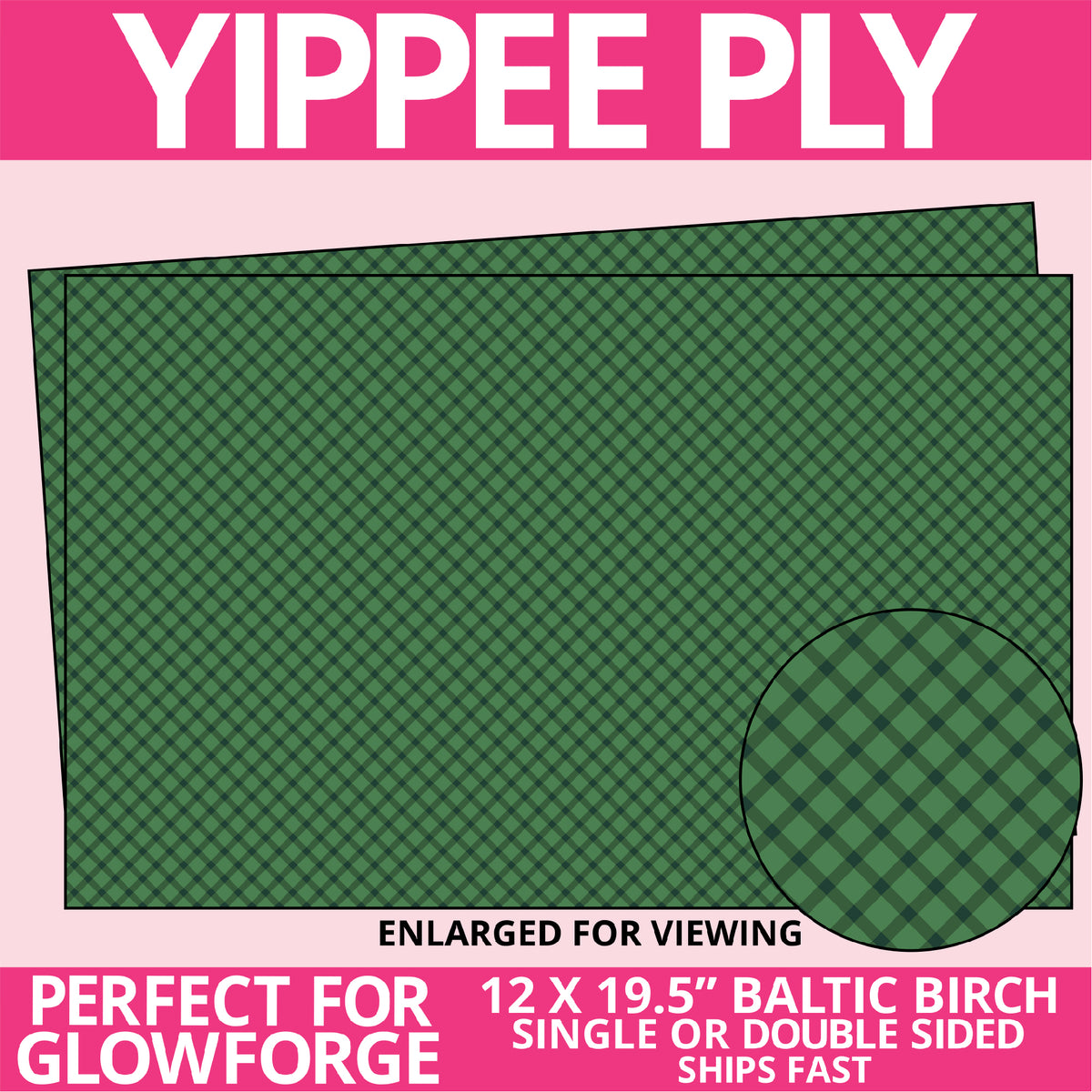 Yippee Ply Green Plaid Pattern on Birch Plywood 1029