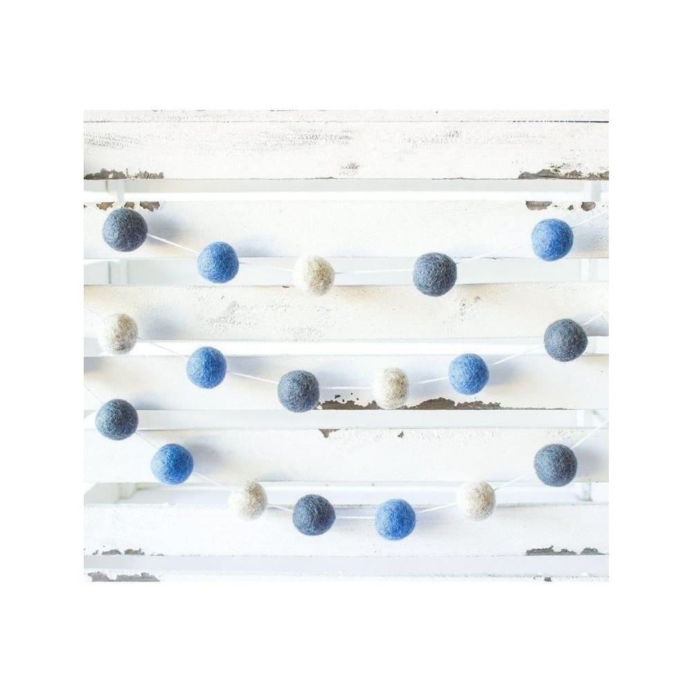 Blue & Gray Felt Ball Garland